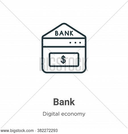 Bank icon isolated on white background from digital economy collection. Bank icon trendy and modern