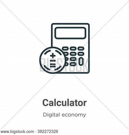 Calculator icon isolated on white background from digital economy collection. Calculator icon trendy