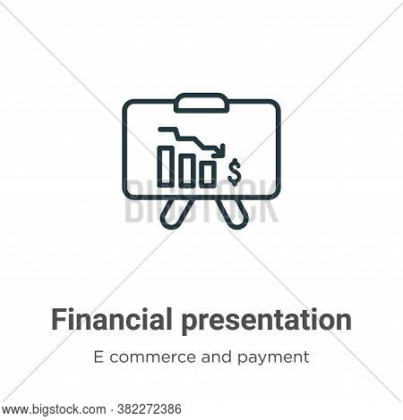 Financial presentation icon isolated on white background from e commerce and payment collection. Fin