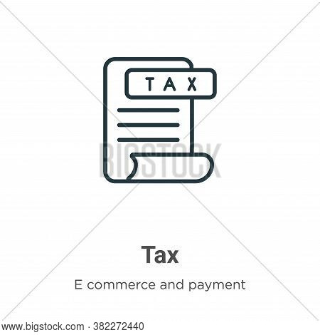 Tax icon isolated on white background from e commerce and payment collection. Tax icon trendy and mo