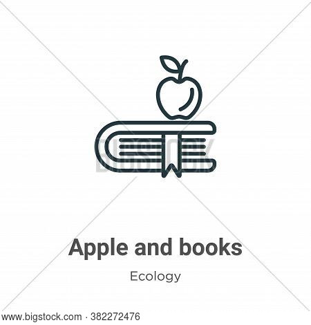 Apple and books icon isolated on white background from ecology collection. Apple and books icon tren