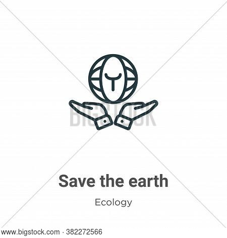 Save the earth icon isolated on white background from ecology collection. Save the earth icon trendy