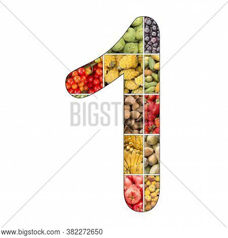 No. 1 (one) With Fruit Background - White Background