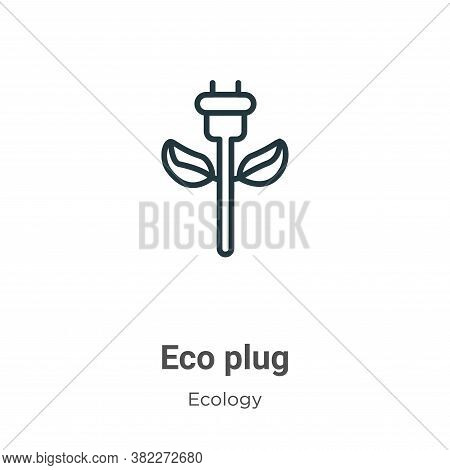Eco plug icon isolated on white background from ecology collection. Eco plug icon trendy and modern
