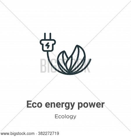 Eco energy power icon isolated on white background from ecology collection. Eco energy power icon tr