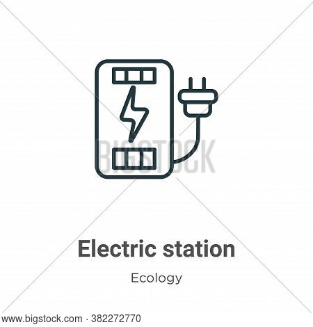 Electric station icon isolated on white background from ecology collection. Electric station icon tr