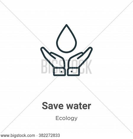 Save water icon isolated on white background from ecology collection. Save water icon trendy and mod