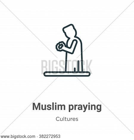 Muslim praying icon isolated on white background from cultures collection. Muslim praying icon trend