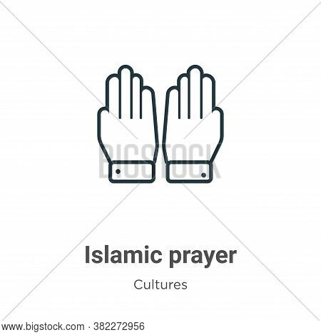 Islamic prayer icon isolated on white background from cultures collection. Islamic prayer icon trend