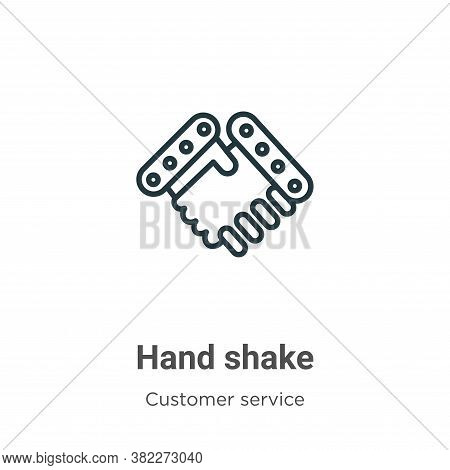 Hand shake icon isolated on white background from customer service collection. Hand shake icon trend