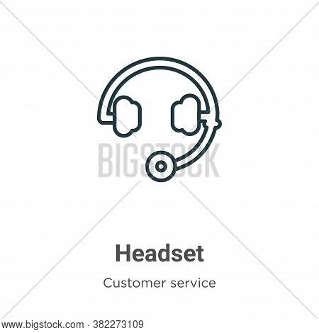 Headset icon isolated on white background from customer service collection. Headset icon trendy and