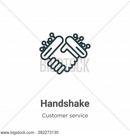 Handshake icon isolated on white background from customer service collection. Handshake icon trendy