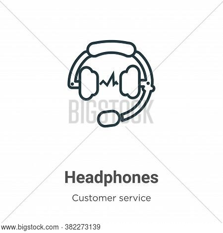 Headphones icon isolated on white background from customer service collection. Headphones icon trend