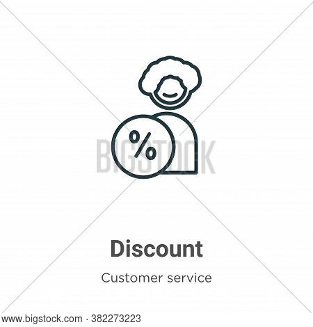 Discount icon isolated on white background from customer service collection. Discount icon trendy an