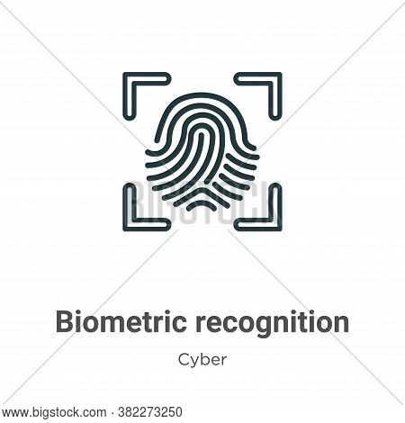 Biometric recognition icon isolated on white background from cyber collection. Biometric recognition