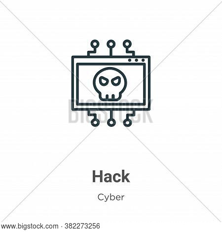 Hack icon isolated on white background from cyber collection. Hack icon trendy and modern Hack symbo