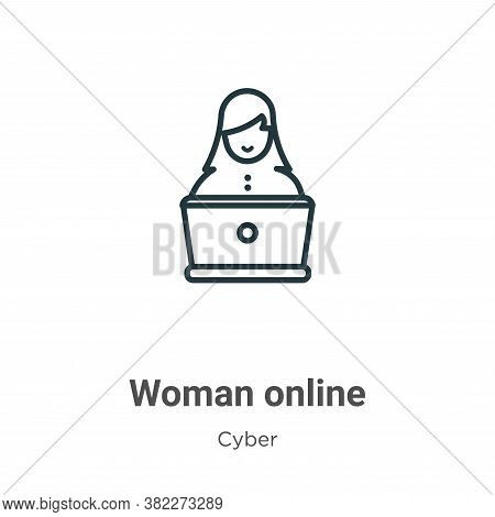 Woman online icon isolated on white background from cyber collection. Woman online icon trendy and m