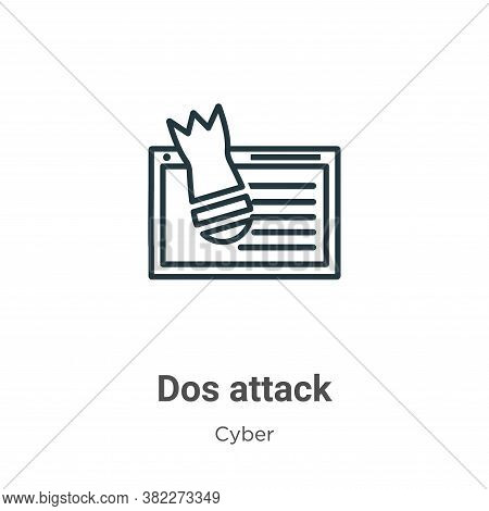 Dos attack icon isolated on white background from cyber collection. Dos attack icon trendy and moder