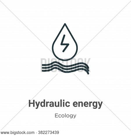 Hydraulic energy icon isolated on white background from ecology collection. Hydraulic energy icon tr