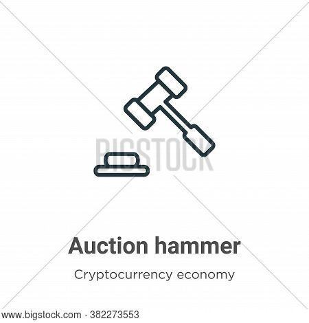 Auction hammer icon isolated on white background from cryptocurrency economy and finance collection.