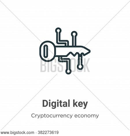 Digital key icon isolated on white background from cryptocurrency economy and finance collection. Di
