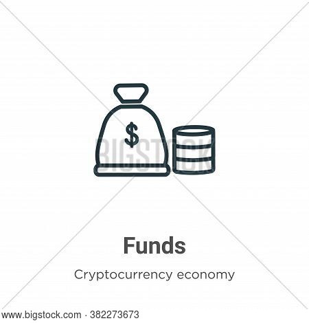 Funds icon isolated on white background from cryptocurrency economy and finance collection. Funds ic