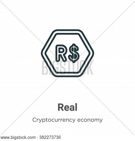 Real icon isolated on white background from cryptocurrency economy and finance collection. Real icon