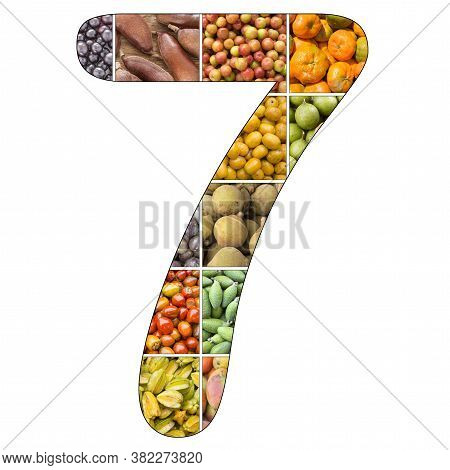 No. 7 (seven) With Fruit Background - White Background