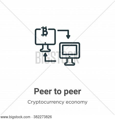 Peer to peer icon isolated on white background from blockchain collection. Peer to peer icon trendy