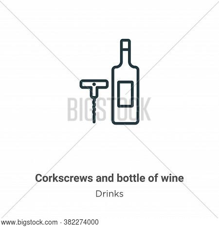 Corkscrews and bottle of wine icon isolated on white background from drinks collection. Corkscrews a
