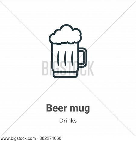 Beer mug icon isolated on white background from drinks collection. Beer mug icon trendy and modern B