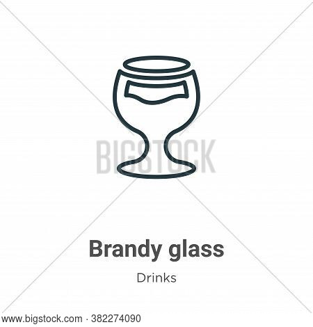 Brandy glass icon isolated on white background from drinks collection. Brandy glass icon trendy and