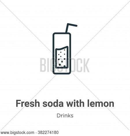 Fresh soda with lemon slice and straw icon isolated on white background from drinks collection. Fres