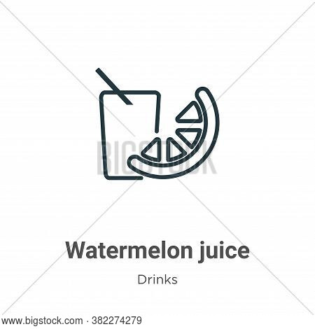 Watermelon juice icon isolated on white background from drinks collection. Watermelon juice icon tre