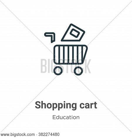 Shopping cart icon isolated on white background from education collection. Shopping cart icon trendy