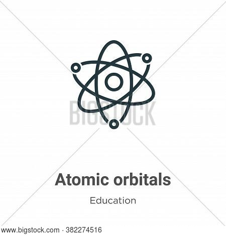 Atomic orbitals icon isolated on white background from education collection. Atomic orbitals icon tr