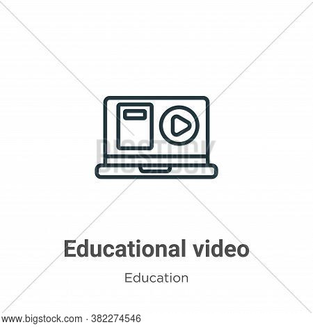 Educational video icon isolated on white background from education collection. Educational video ico