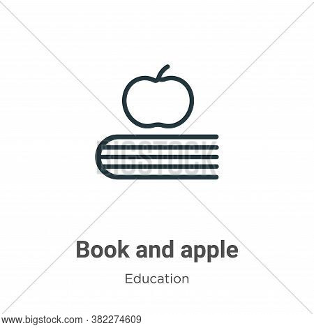 Book and apple icon isolated on white background from education collection. Book and apple icon tren