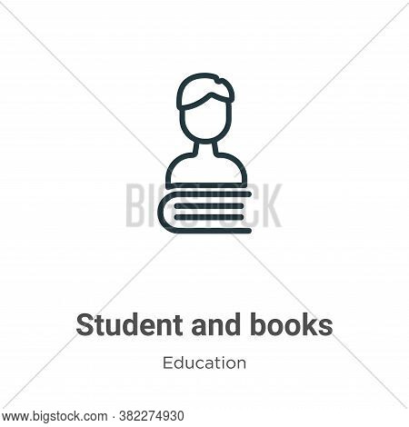 Student and books icon isolated on white background from education collection. Student and books ico