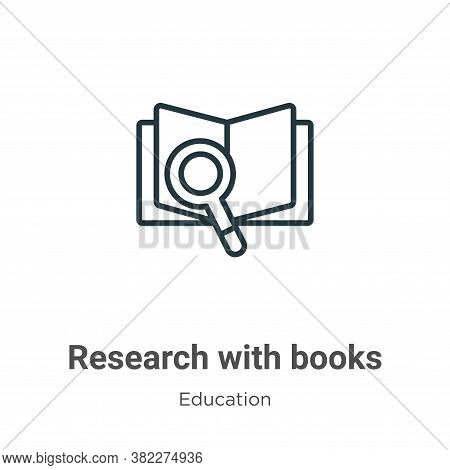 Research with books icon isolated on white background from education collection. Research with books