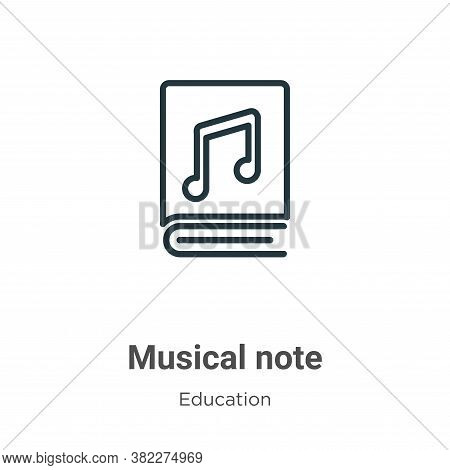 Musical note icon isolated on white background from education collection. Musical note icon trendy a