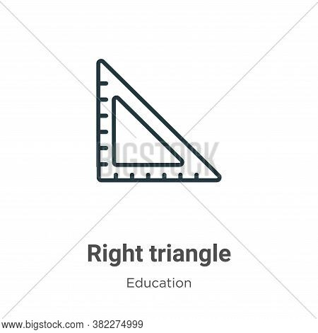 Right triangle icon isolated on white background from education collection. Right triangle icon tren