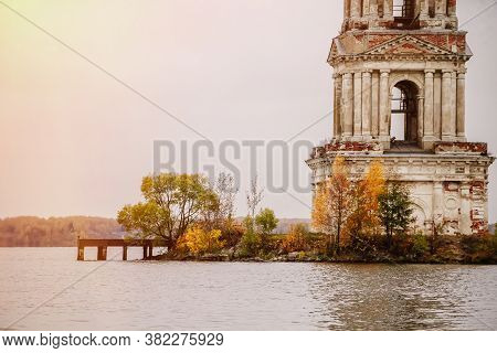 Old Abandoned Bell Tower In The Middle Of The Lake, Kalyazin, Russia