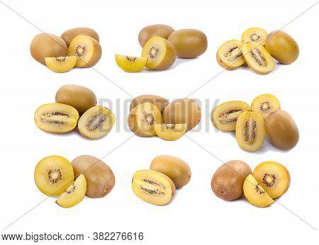 Yellow Flesh Kiwi Fruit An Isolated On White Bsckground