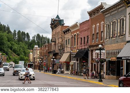 Deadwood, South Dakota - June 22, 2020: Main Street In Downtown Deadwood, A Tourist Town Featuring G