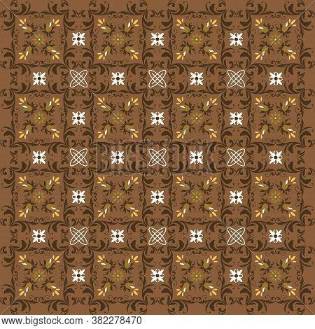 Unique Motif In Solo Batik Design With Modern Brown Color Design.