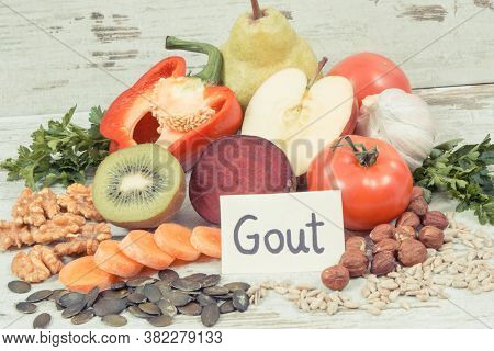 Healthy Nutritious Eating Containing Natural Vitamins And Minerals. Concept Of Best Food For Gout An
