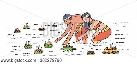 Young Man And Woman In Religious Costumes Float With Candles On The River, Loy Krathong Concept.