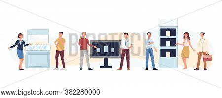 Cartoon People At Exhibition Fair - Flat Isolated Set On White Background.