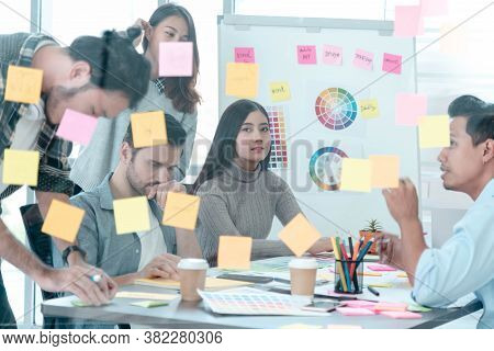 Brainstorming Diversity Creative Design Use Post It Sticky Note  Team Meeting With Startup Teamwork.